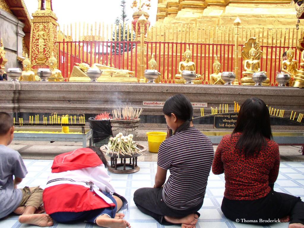 Praying and Offerings at Wat Doi Sutep, Chiang Mai