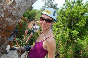 Angela on the zipline