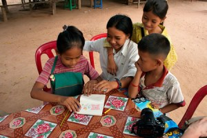 Kids drawing in Cambodia