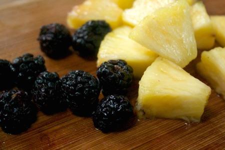 Pineapple and blackberries