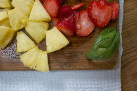 Strawberries pineapple basil