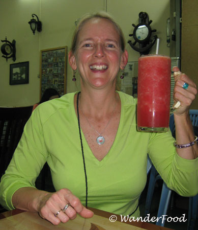 Beth with watermelon juice