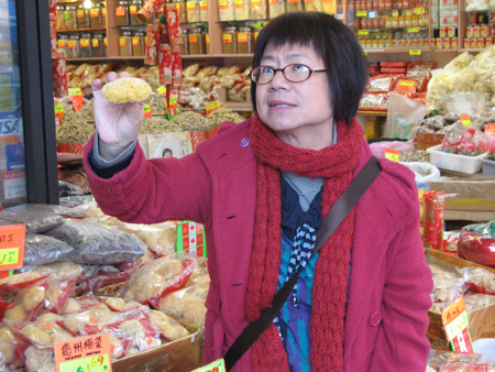 Stephanie Yuen explains about fungus in a Vancouver Chinatown herbalist shop