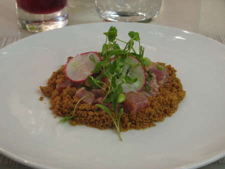Tuna cecviche with toasted amaranth at Hawksworth Restaurant, Vancouver