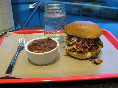 Pulled pork and baked beans at Pig BBQ Joint
