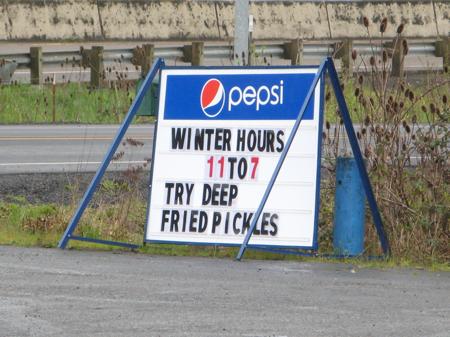 Deep fried pickles at K&R Drive Inn, Oregon