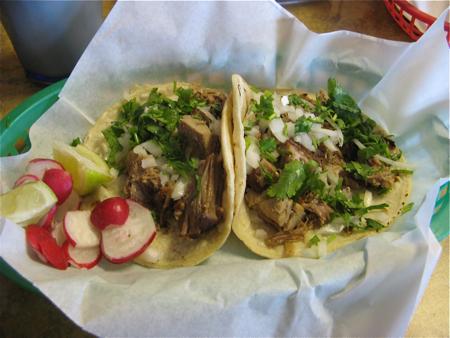 Carnitas tacos at Rosticeria y Cocina El Paisano, Seattle