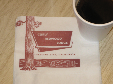 Retro napkins at the Curly Redwood Lodge