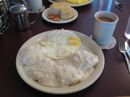 Biscuits and gravy at Hank's Creekside, Santa Rosa, California