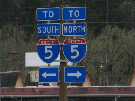 Road signs on Interstate 5, Oregon