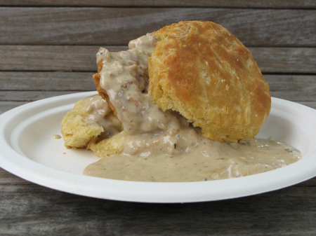 Chicken on a biscuit with mushroom gravy, Pine State Biscuits, Portland Farmers' Market