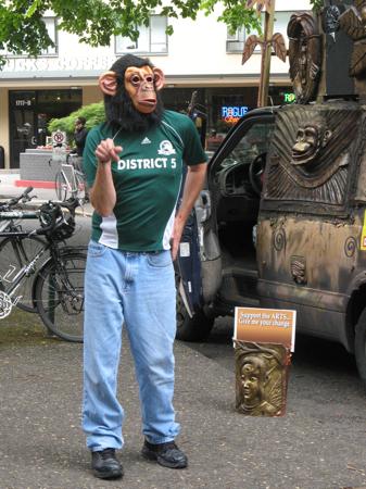 Rapping gorilla, Portland Saturday Farmers Market, Portland, OR