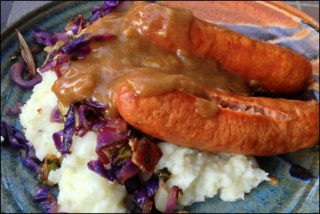 Healthy Bangers and Colcannon with Guinness Onion Gravy