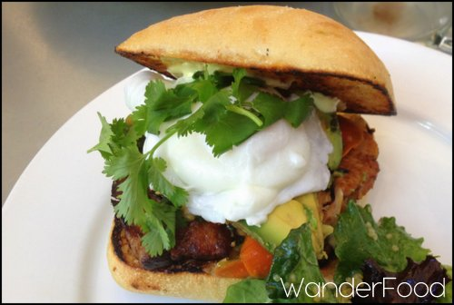 Pork Belly Banh Mi with an egg