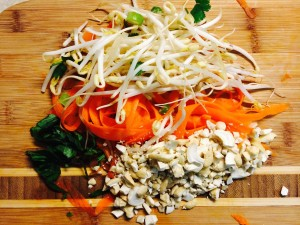 Carrots, beansprouts and basil
