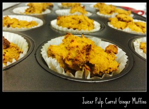 Juicer pulp carrot ginger muffins