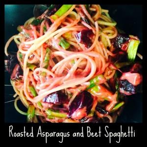 Roasted asparagus and beet spaghetti
