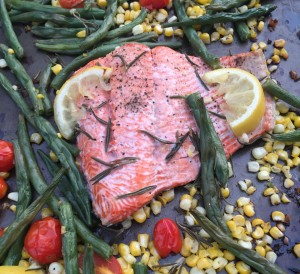 Rosemary and garlic roasted salmon with sweet corn