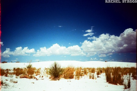 white sands national monument new mexico gypsum sand landscape on film