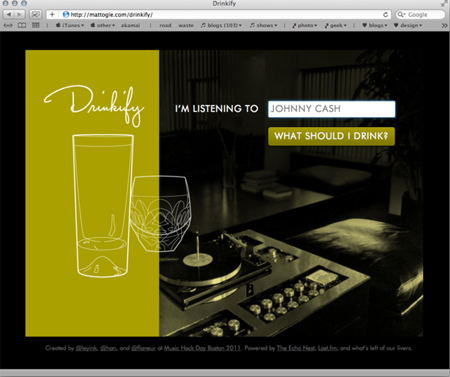 Drinkify.org: Pairs Tunes to Booze