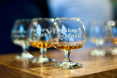 Bourbon samples in Makers Mark tasting glasses