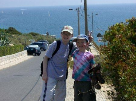 Boys on a beach walk in Carvoeiro