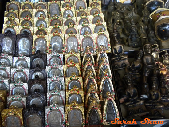 Amulets offered near Wat Mahathat in Bangkok