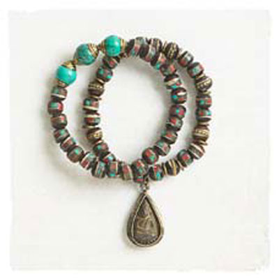 Amulet look bracelet with Tibetan beads
