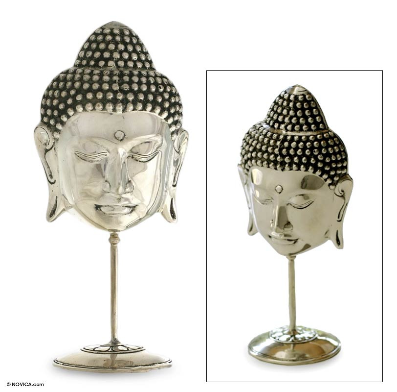 Silver Buddha Head with stand from Novica