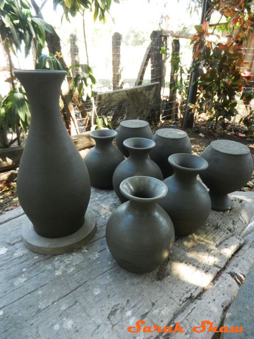 New pots left to dry for a day in Guatil, Costa Rica