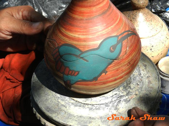 Finished hummingbird motif in Guatil, Costa Rica