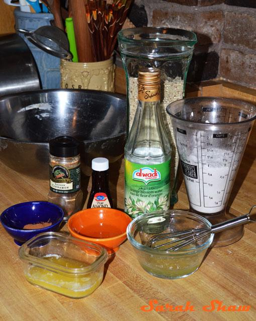 Almond Filling ingredients for Gazelles' Horns Moroccan cookies