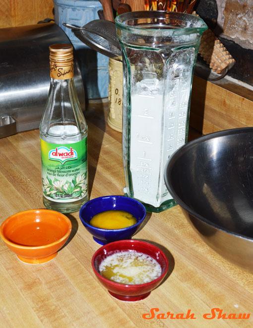 Pastry ingredients for Gazelles' Horns Moroccan Cookies