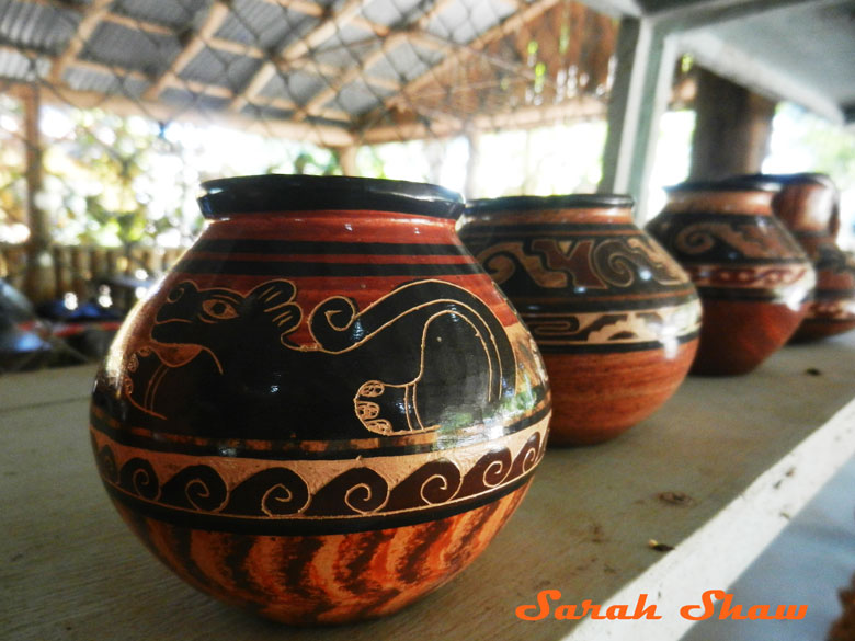 Jaguar and many techniques on a jar in Guatil, Costa Rica