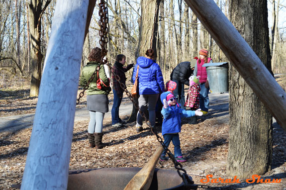 Knee-High Naturalists learn about maple syrup at Fenner Nature Center