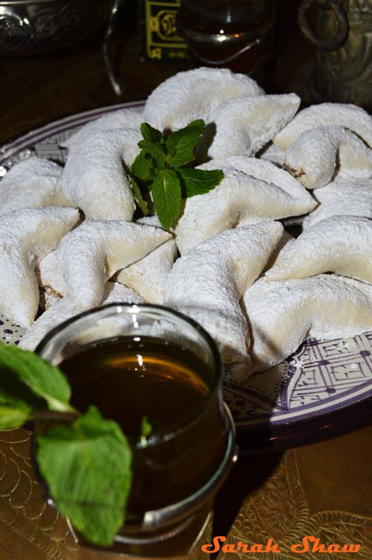 Gazelles Horns Cookies with Moroccan Mint Tea