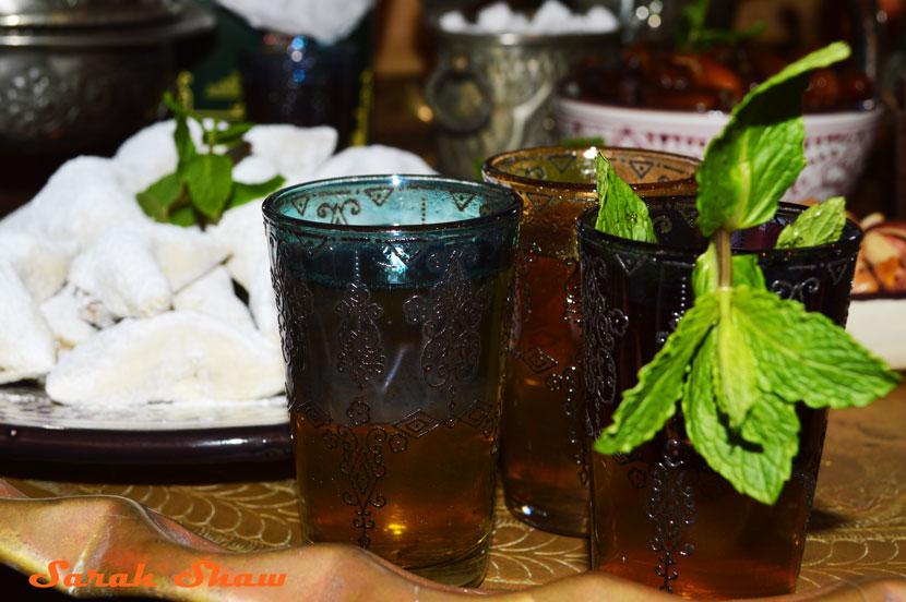 Moroccan tea glasses with sweet mint tea
