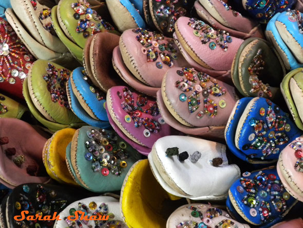Babouche with sequins and ornamental knots from a Marrakesh market