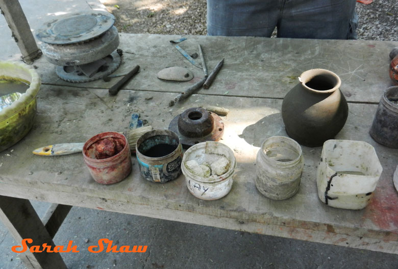 The workbench of a potter in Guatil, Costa Rica