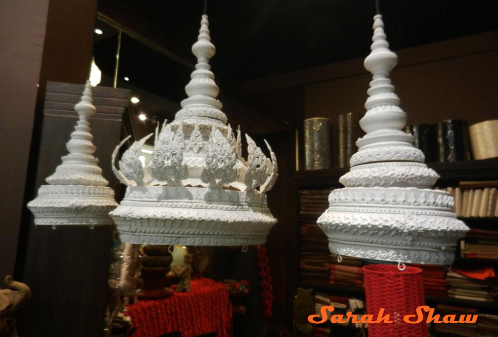 Temple finals turned pendant lights at Fai Sor Kam
