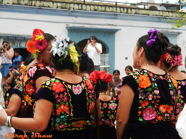 Women gather after a wedding in Oaxaca, Mexico