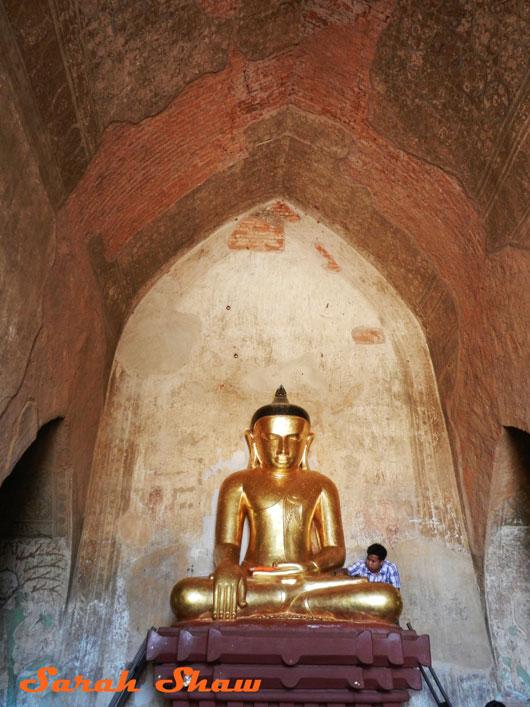 Gold leaf offering in a temple in Bagan, Myanmar