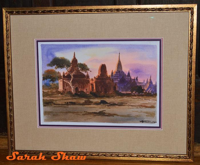 Custom framed Bagan painting by Frames Unlimted