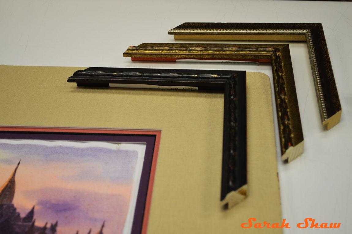 Choosing a custom frame at Frames Unlimited