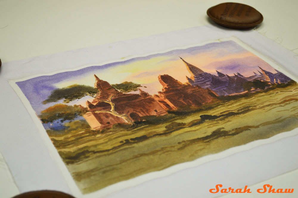 Sunset in Bagan painting from Myanmar