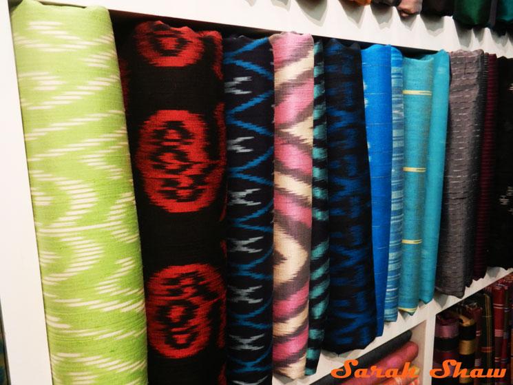 Brigt ikat silks at Indigo House, Bangkok, Thailand
