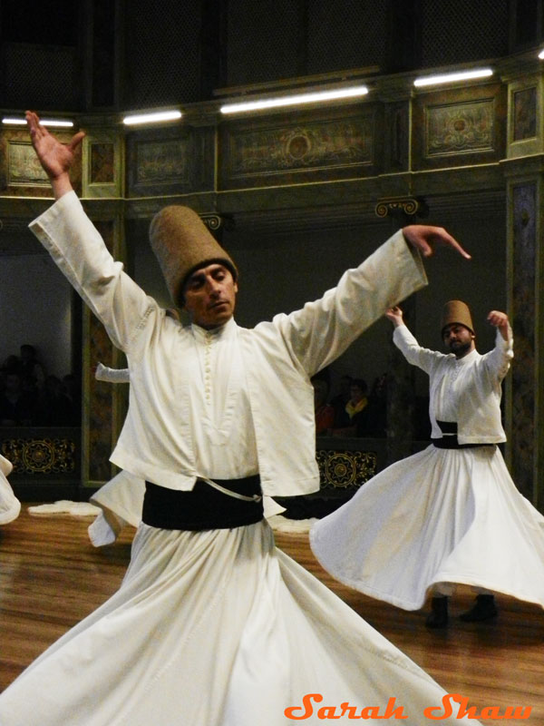 Dervish whirling during a Sema Ceremony in Istanbul, Turkey