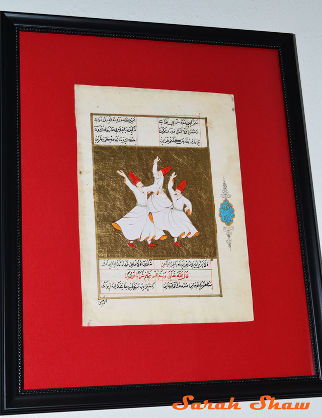 Framed Dervish Painting from Istanbul, Turkey