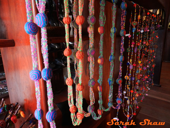 Colorful embroidered bead necklaces from Naga Creations, Luang Prabang, Laos