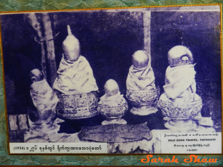 1934 Image of the Inle Lake Buddhas covered in gold leaf, Myanmar